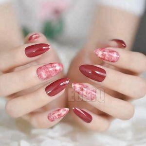 BNIB red marble press on nails